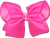 MEGA Shocking Pink Canvas over Hot Pink Double Layer Overlay Bow
