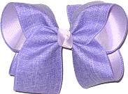 Large Light Orchid Canvas over Lavender Double Layer Overlay Bow
