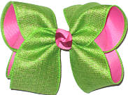Large Apple Green Canvas over Pink Double Layer Overlay Bow