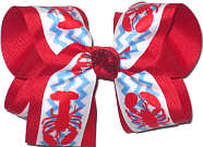 Large Crawfish Print over Red Double Layer Overlay Bow