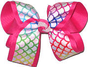 Large Multicolor Scales over Shocking Pink Double Layer Overlay Bow