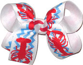 Medium Crawfish Print over White Double Layer Overlay Bow