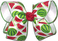MEGA Watermelons and Slices over White Double Layer Overlay Bow