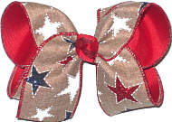 MEGA White Stars and Red and Blue Glitter Stars on Khaki Canvas over Red