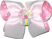 Large White over Pink with White Dots with Cupcake Miniature