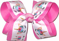 Large Unicorn Print over Hot Pink Double Layer Overlay Bow