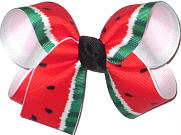 Medium Watermelon Print over White Double Layer Overlay Bow