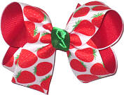 Medium Strawberries on White over Red Double Layer Overlay Bow