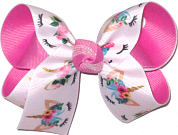 Medium Unicorn Print over Pixie Pink Double Layer Overlay Bow