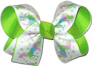 Medium Unicorn Print over Lypple Double Layer Overlay Bow