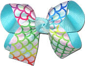 Medium Multicolor Scales on White over Aqua Double Layer Overlay Bow