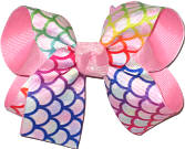 Medium Multicolor Scales over Pink Double Layer Overlay Bow