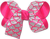 Medium Silver Glitter Scales over Shocking Pink Double Layer Overlay Bow