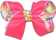 Medium Tutti Fruiti over Multicolor Print Double Layer Overlay Bow