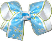 Medium Daisies on Blue over White Double Layer Overlay Bow