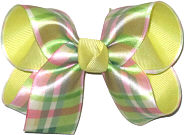 Medium Pastel Plaid over Baby Maize Double Layer Overlay Bow