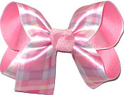Medium Pastel Plaid over Pink Double Layer Overlay Bow