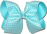 Large Aqua and White Check over Aqua Double Layer Overlay Bow