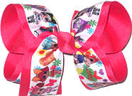 Large LOL Characters over French Pink Double Layer Overlay Bow