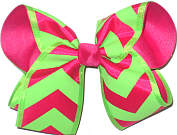Large Shocking Pink and Neon green Chevron over Shocking Pink Double Layer Overlay Bow