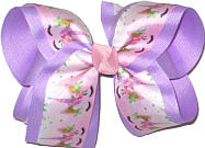 Large Pink Unicorn Print over Light Orchid Double Layer Overlay Bow