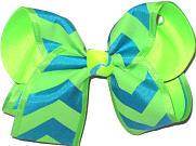 MEGA Neon Green and Turquoise Chevron Stripes over Neon Lime Double Layer Overlay Bow