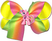 Medium Pink Orange and Green Pastel Stripe over Neon Yellow with Unicorn Miniature Double Layer Overlay Bow