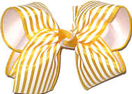 MEGA Maize and White Stripe over White Double Layer Overlay Bow