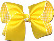 Large Maize over Maize and White Check Double Layer Overlay Bow
