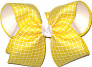 Large Maize and White Check over White Double Layer Overlay Bow