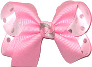 Medium Pink over White Satin with Silver Dots Double Layer Overlay Bow