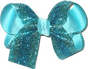 Medium Turquoise and Aqua Glitter Stripe over Aqua Double Layer Overlay Bow