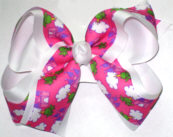 Frog Prince and Castle over White Large Double Layer Bow