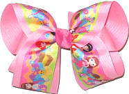 Large Mermaids over Pink Double Layer Overlay Bow