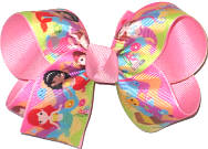 Medium Mermaids over Pink Double Layer Overlay Bow