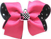 Large Shocking Pink over Black with White Dots with Handbag and Lipsick Miniature Double Layer Overlay Bow