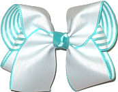 Large White over Aqua and White Stripes Double Layer Overlay Bow