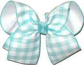 MEGA Aqua and White Check over White Double Layer Overlay Bow