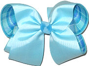 Large Ocean Blue over Blue Plaid Double Layer Overlay Bow