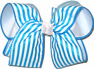 Large Island Blue Stripe over White Double Layer Overlay Bow
