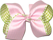 Large Light Pink over Lemon Grass and White Plaid Double Layer Overlay Bow