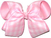MEGA Pink Plaid over Pink Double Layer Overlay Bow
