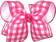 MEGA Shocking Pink and White Plaid over White Double Layer Overlay Bow