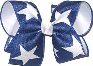 Large Light Navy Canvas with White Stars over White Double Layer Overlay Bow