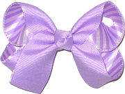Medium Light Orchid and White Stripes over Light Orchid Double Layer Overlay Bow