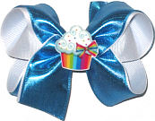 Medium Island Blue Metallic over White with Cupcake Miniature Double Layer Overlay Bow