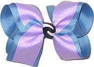 Large Light Orchid over French Blue Double Layer Overlay Bow