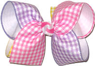 MEGA Hot Pink Light Orchid Maize and White Checks over White Double Layer Overlay Bow
