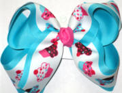 Cupcakes over Navajo Turquoise Large Double Layer Bow