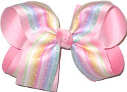 MEGA Mulitcolor Pastel Stripes with Stars over Light Pink Double Layer Overlay Bow